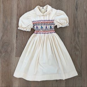 1970's Vintage handmade smocked dress, size 5/6